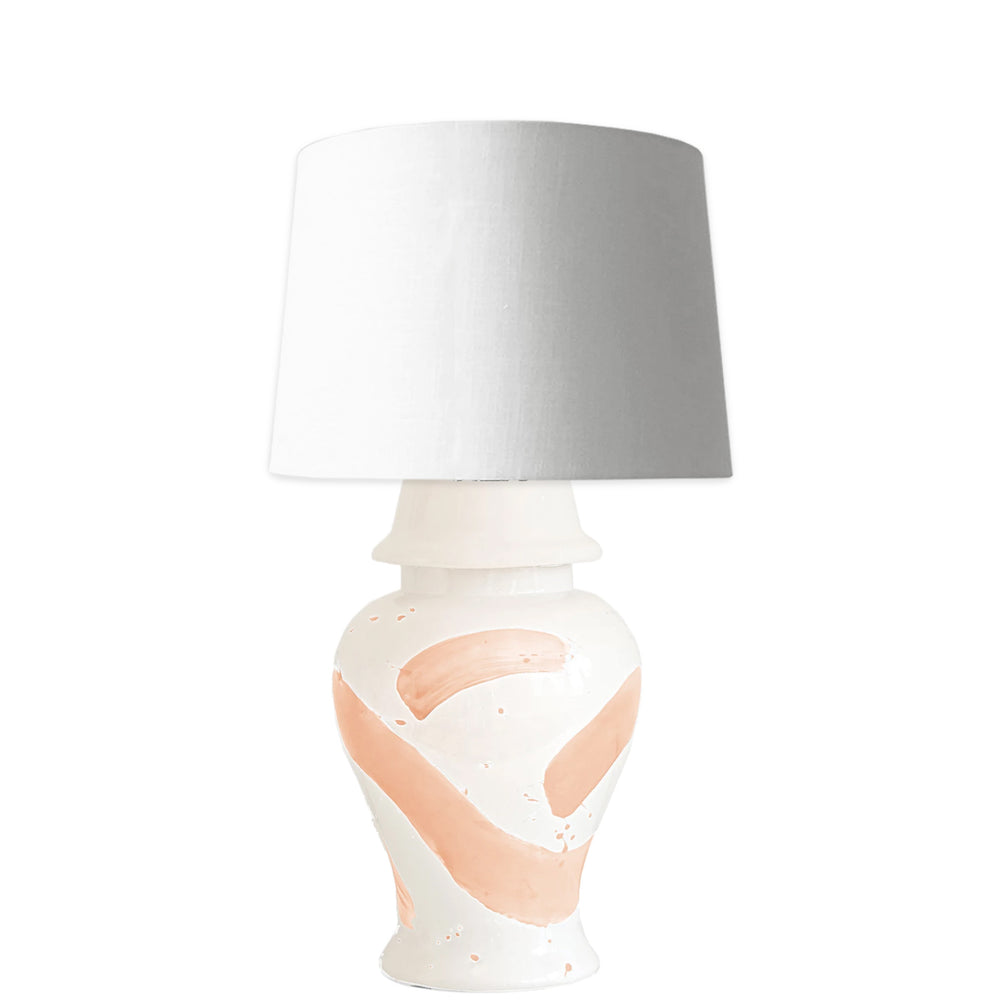 Coral Brushstroke Ginger Jar Lamp