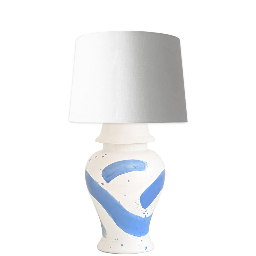 French Blue Brushstroke Ginger Jar Lamp