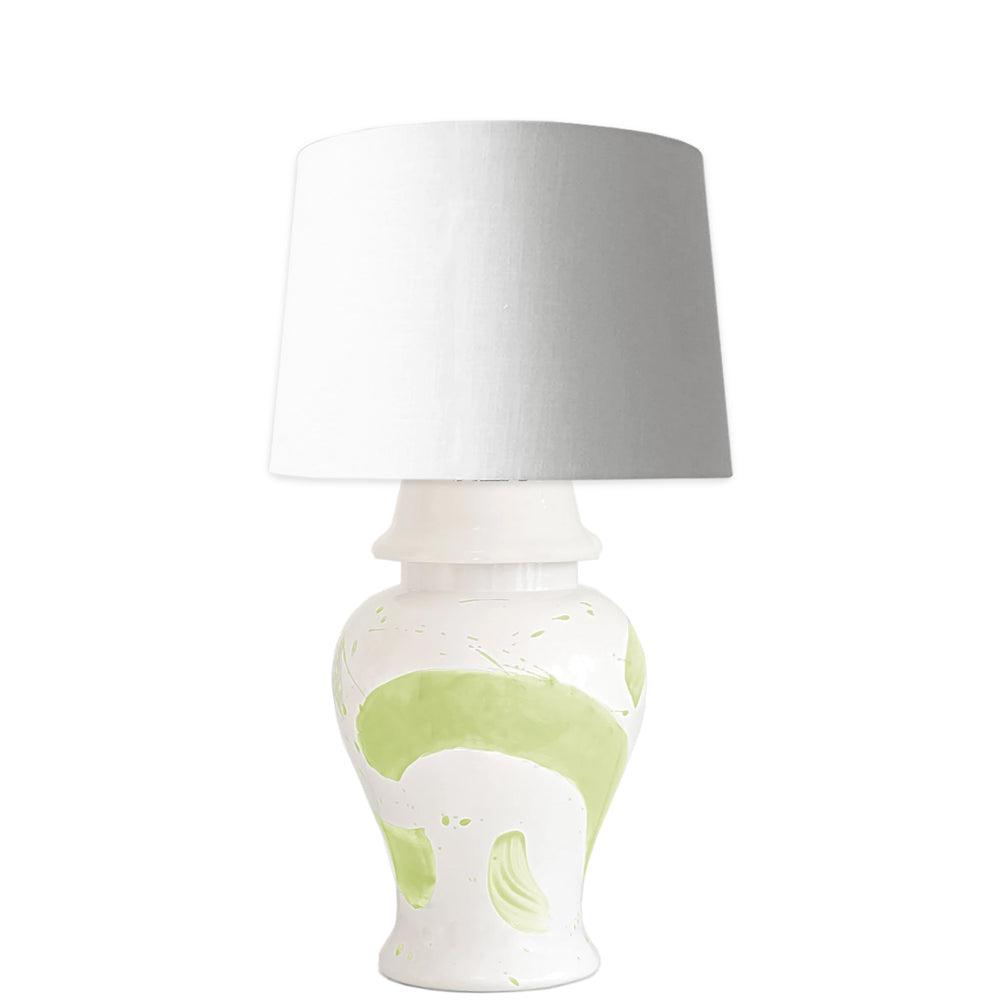 Celery Green Brushstroke Ginger Jar Lamp