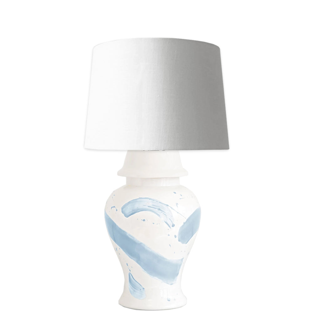 Hydrangea Light Blue Brushstroke Ginger Jar Lamp