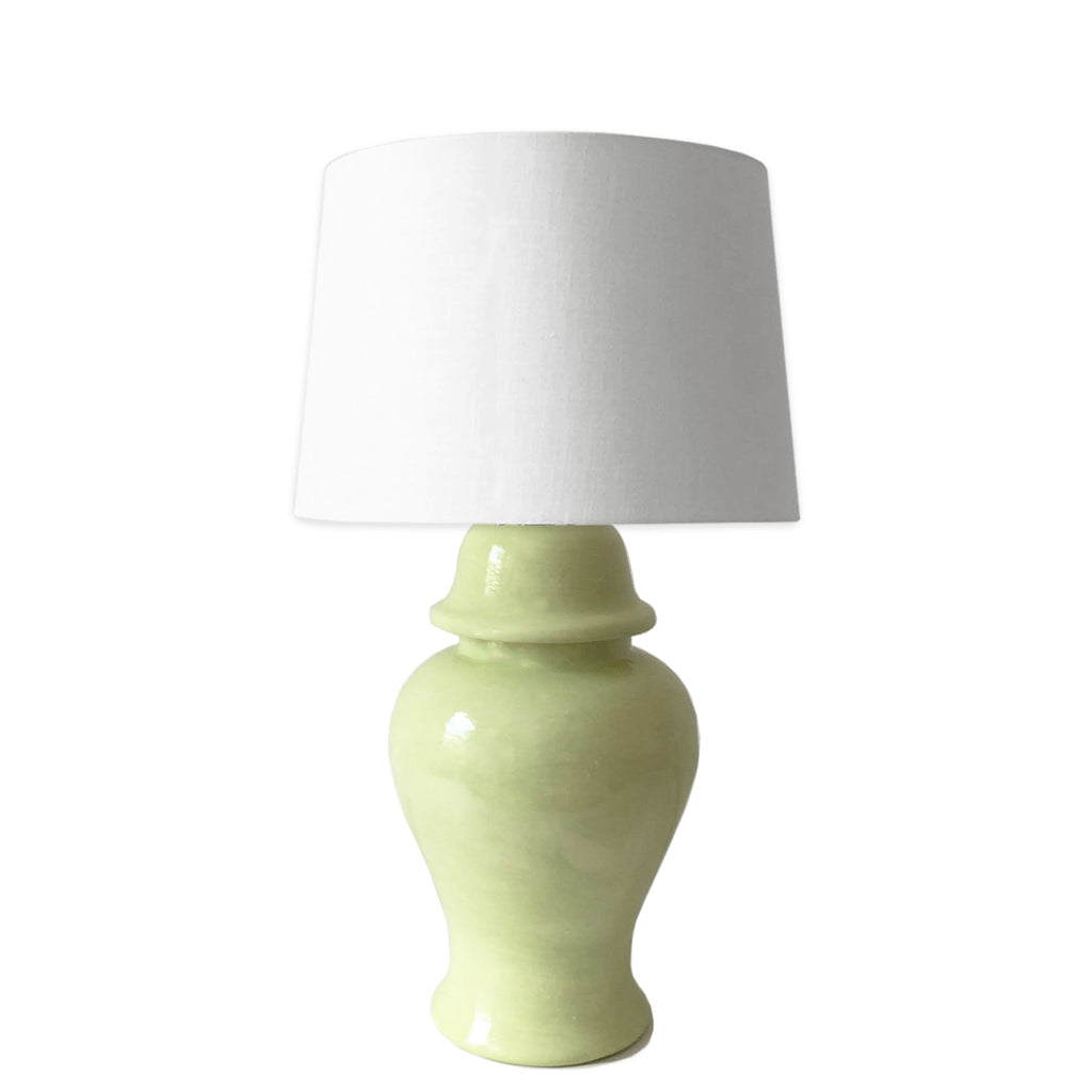 Light Chartreuse Green Hand-Painted Ginger Jar Lamps