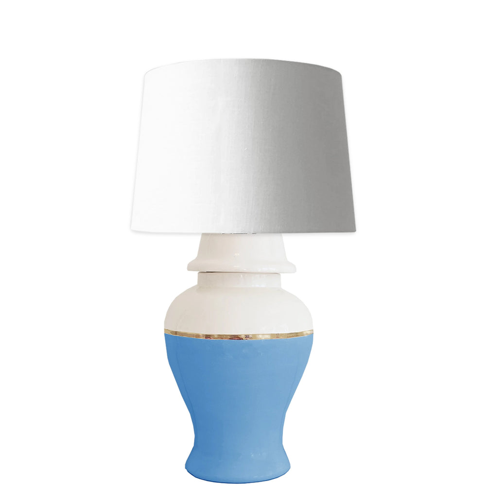 French Blue Color Block Ginger Jar Lamp