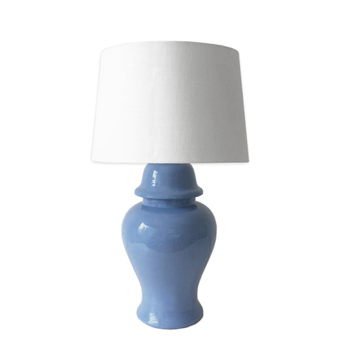 French Blue Hand-Painted Ginger Jar Lamp
