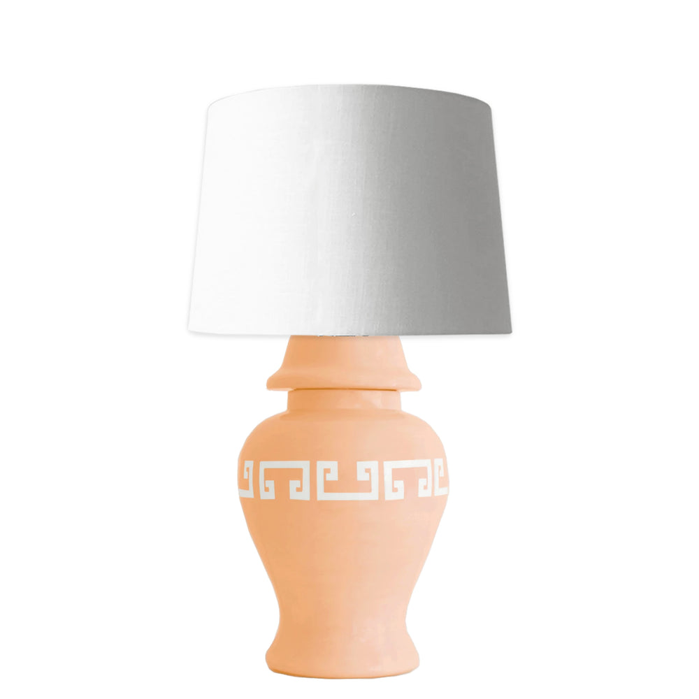 Coral Greek Key Ginger Jar Lamp