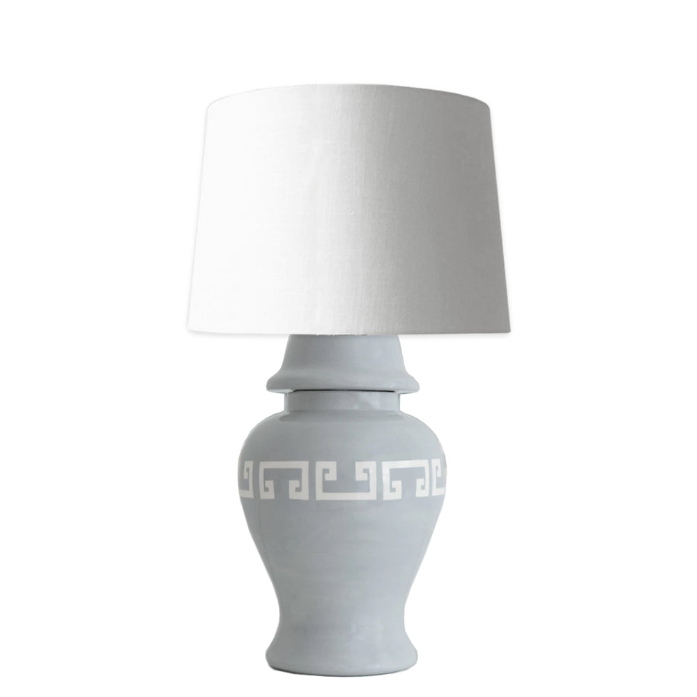 Light Gray Greek Key Ginger Jar Lamp