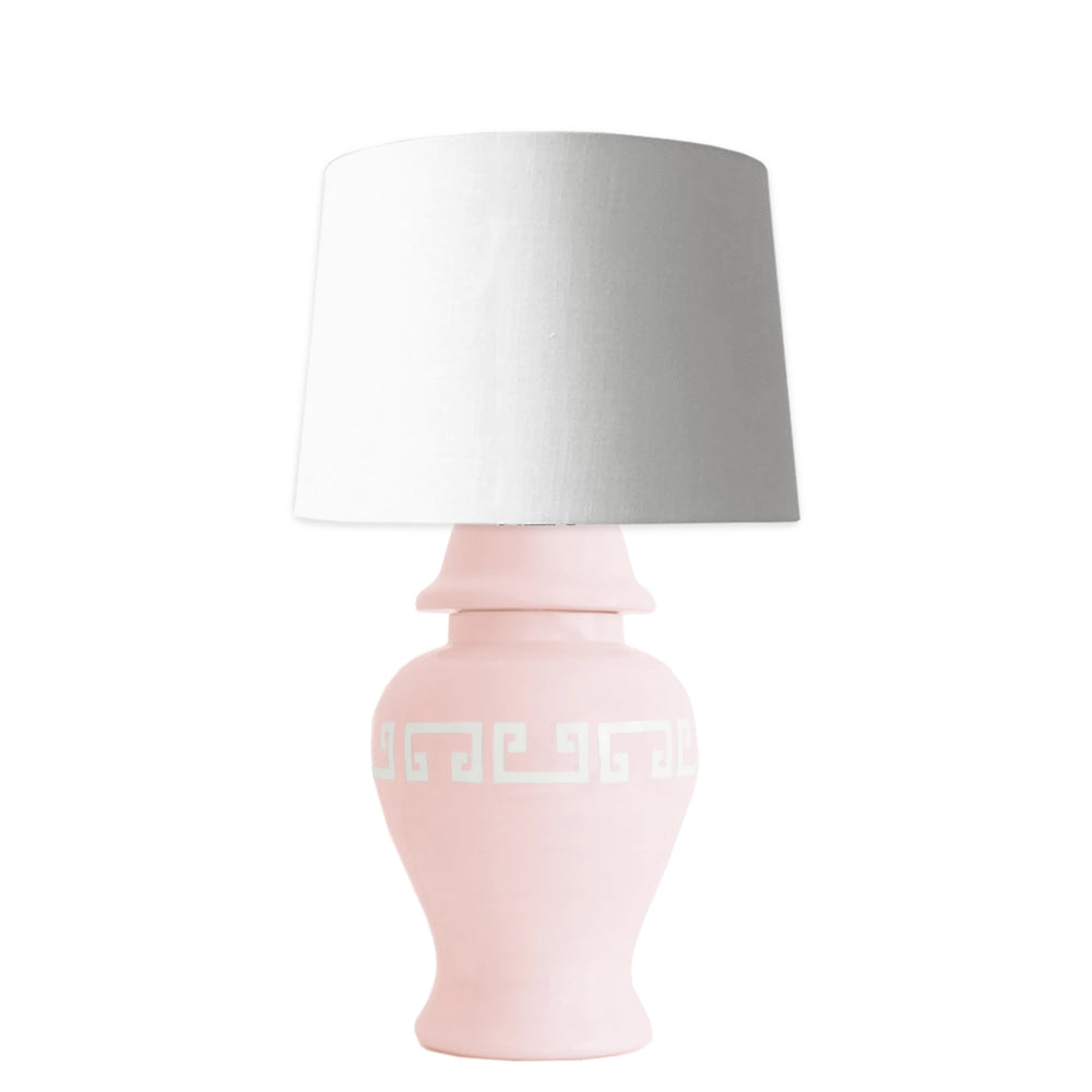 Cherry Blossom Pink Greek Key Ginger Jar Lamp