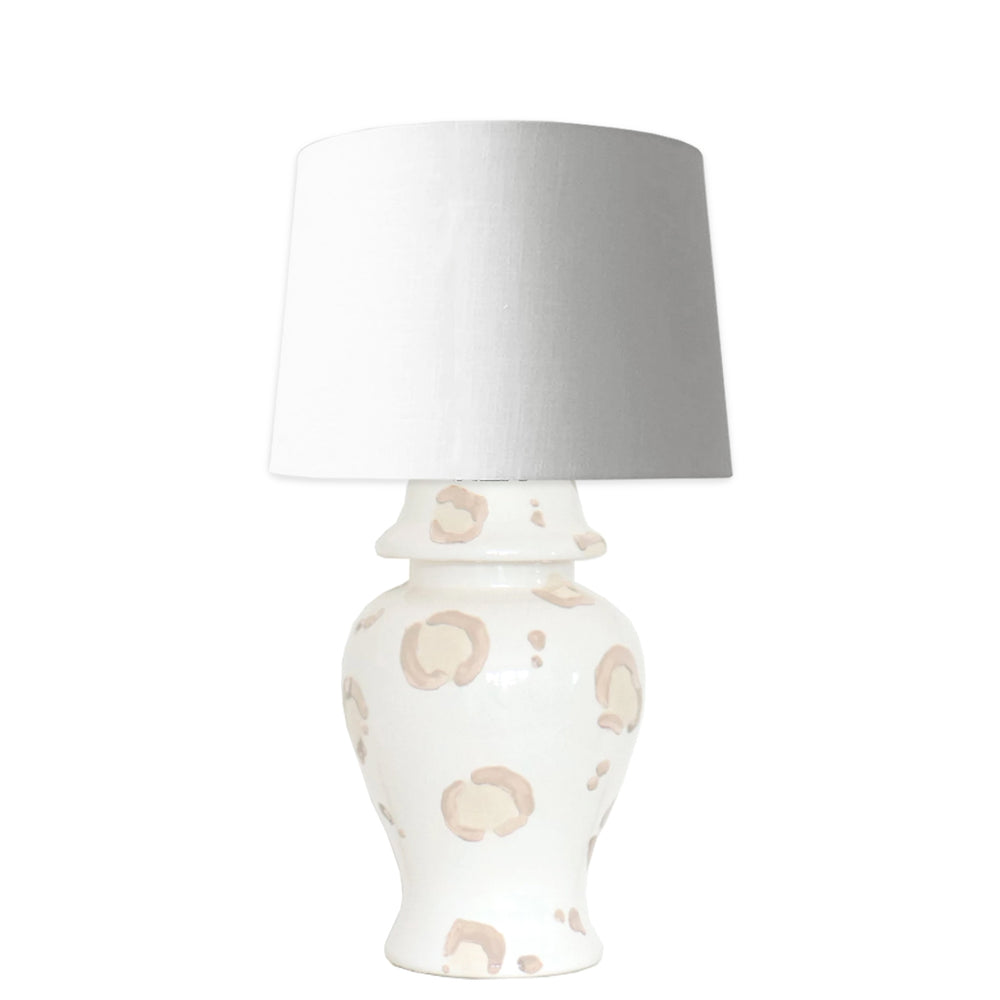 Beige Leopard Ginger Jar Lamp