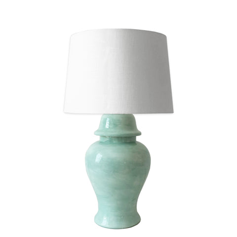 Sea Glass Green Hand-Painted Ginger Jar Lamp
