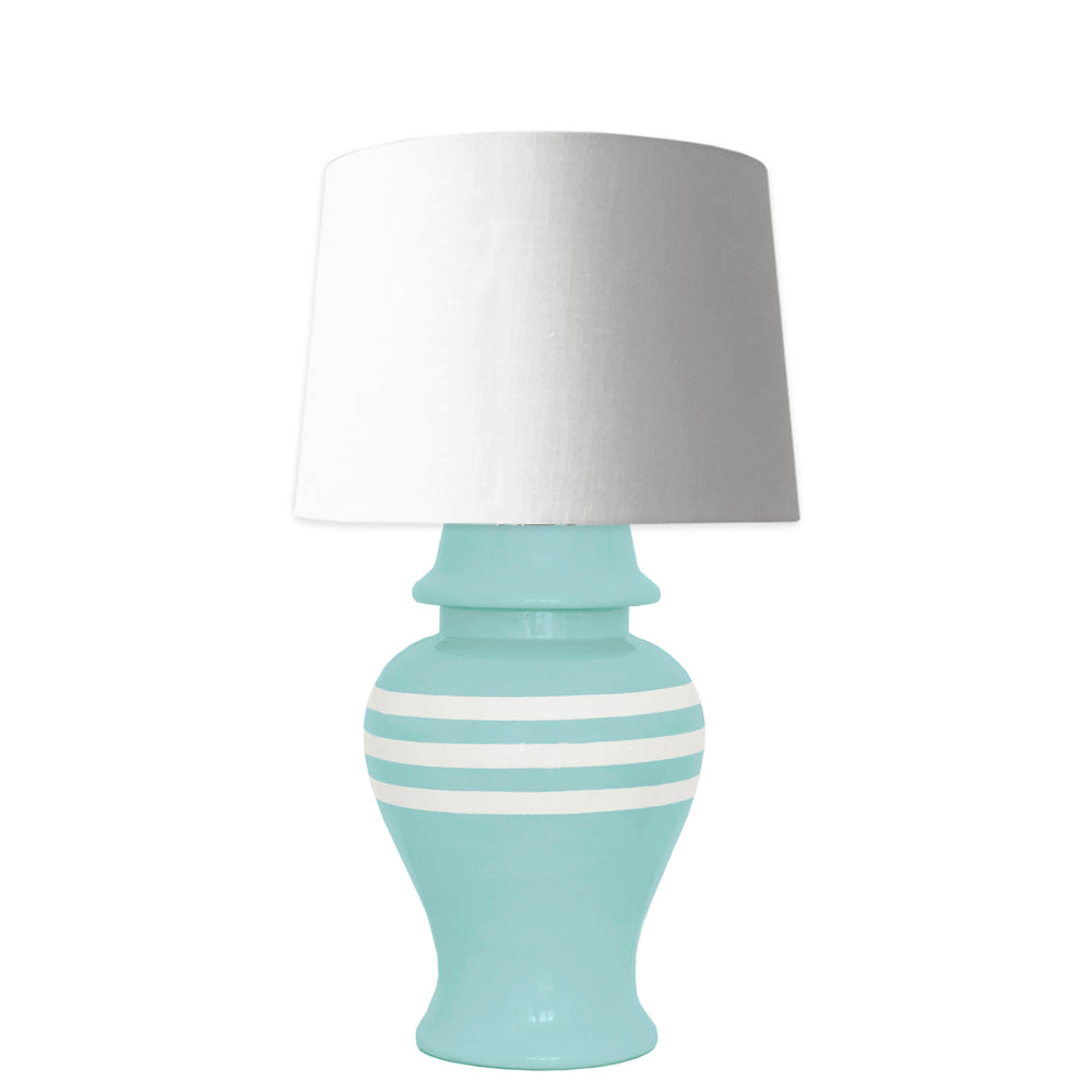 Aqua Striped Ginger Jar Lamp