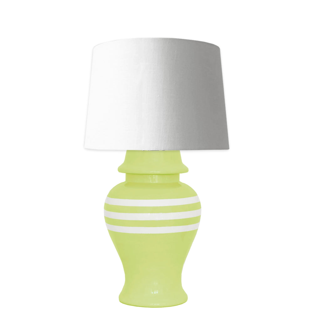 Celery Green Striped Ginger Jar Lamp