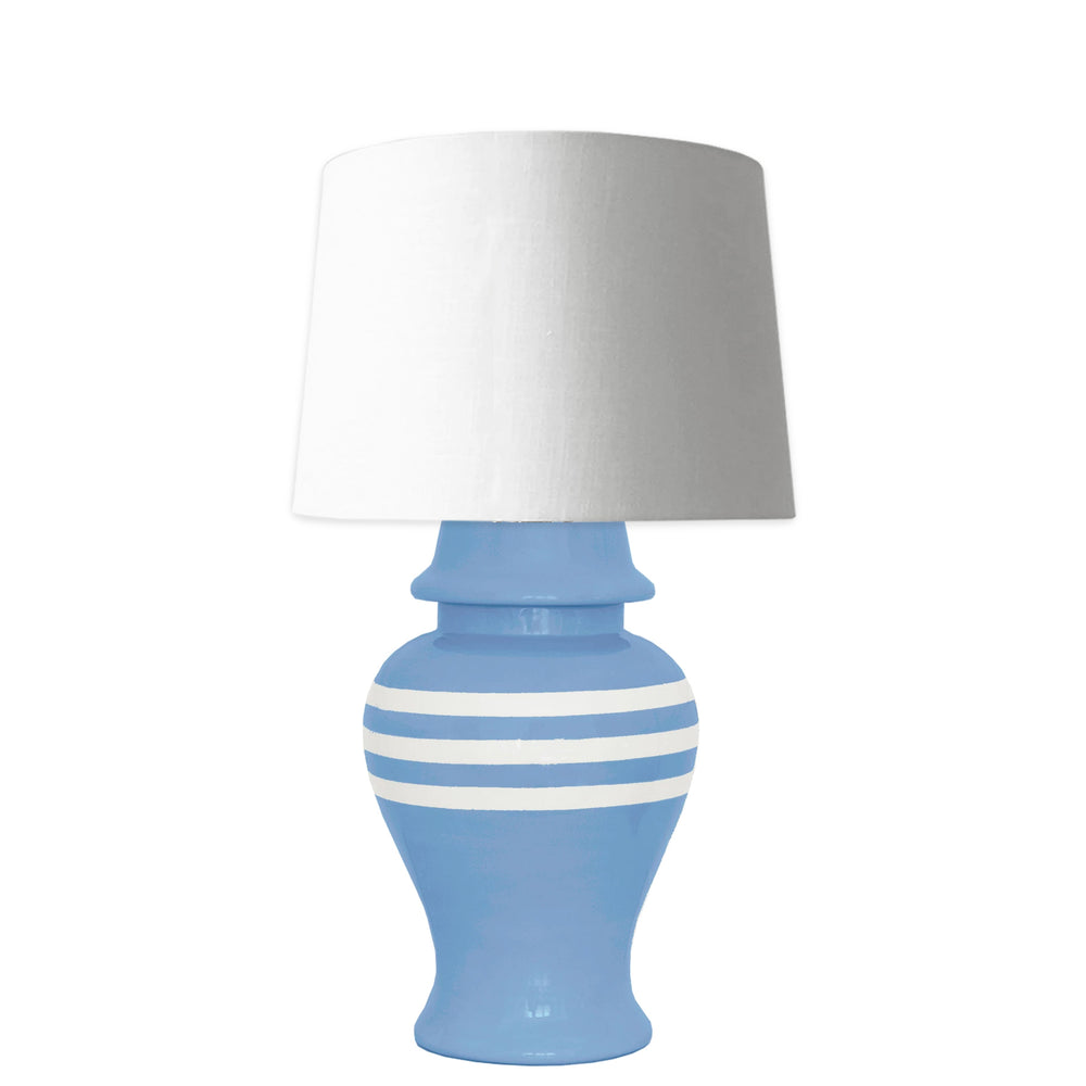 French Blue Striped Ginger Jar Lamp