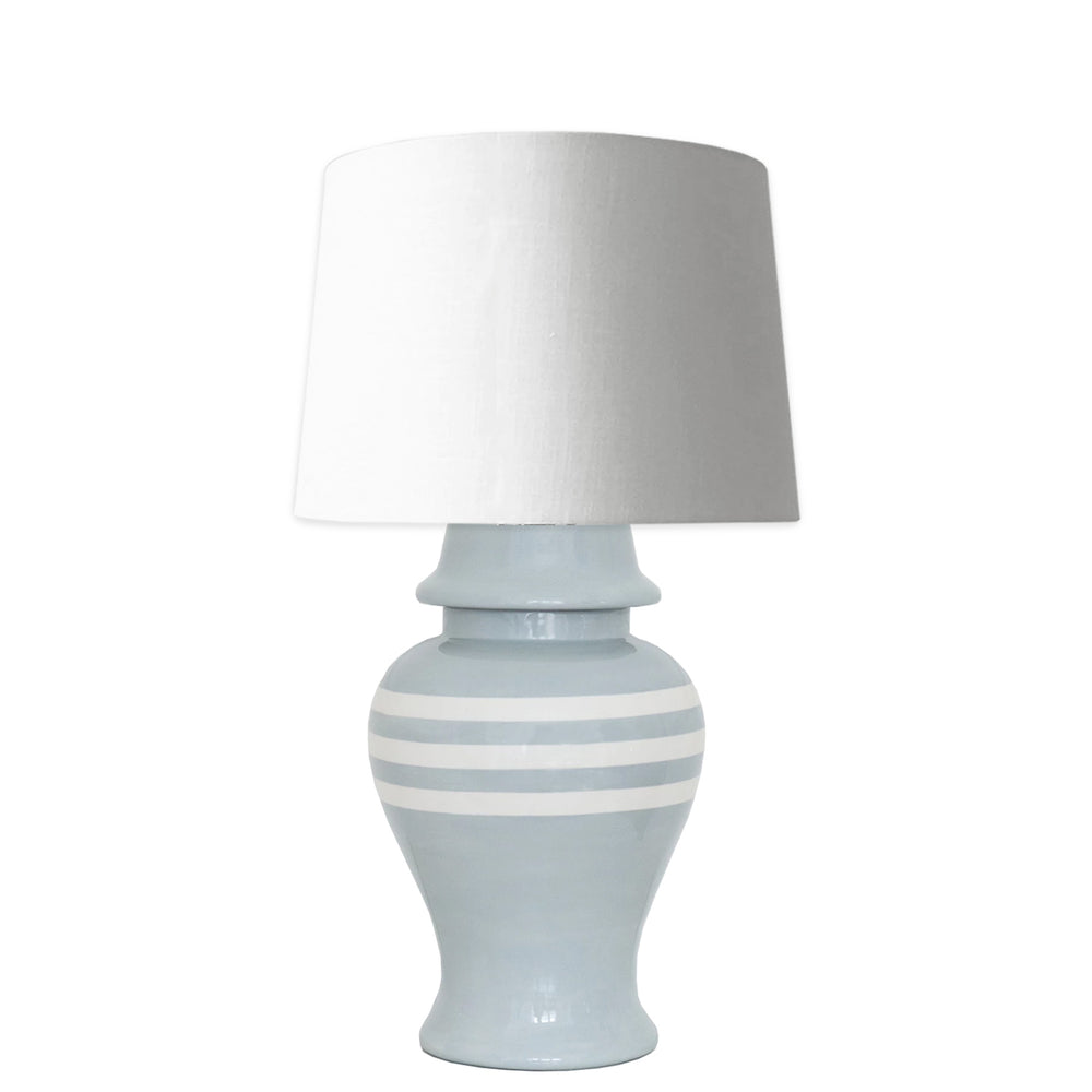 Light Gray Striped Ginger Jar Lamp
