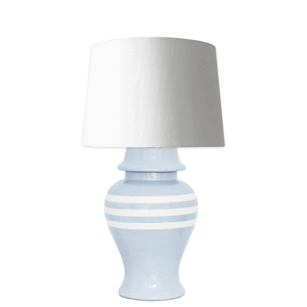 Hydrangea Light Blue Striped Ginger Jar Lamp
