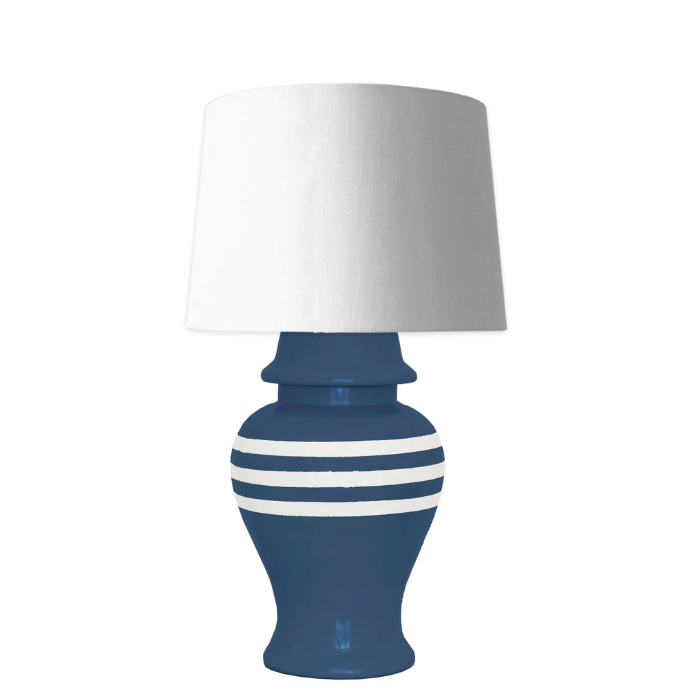 Navy Blue Striped Ginger Jar Lamp