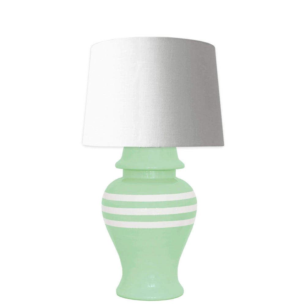 Sea Glass Striped Ginger Jar Lamp