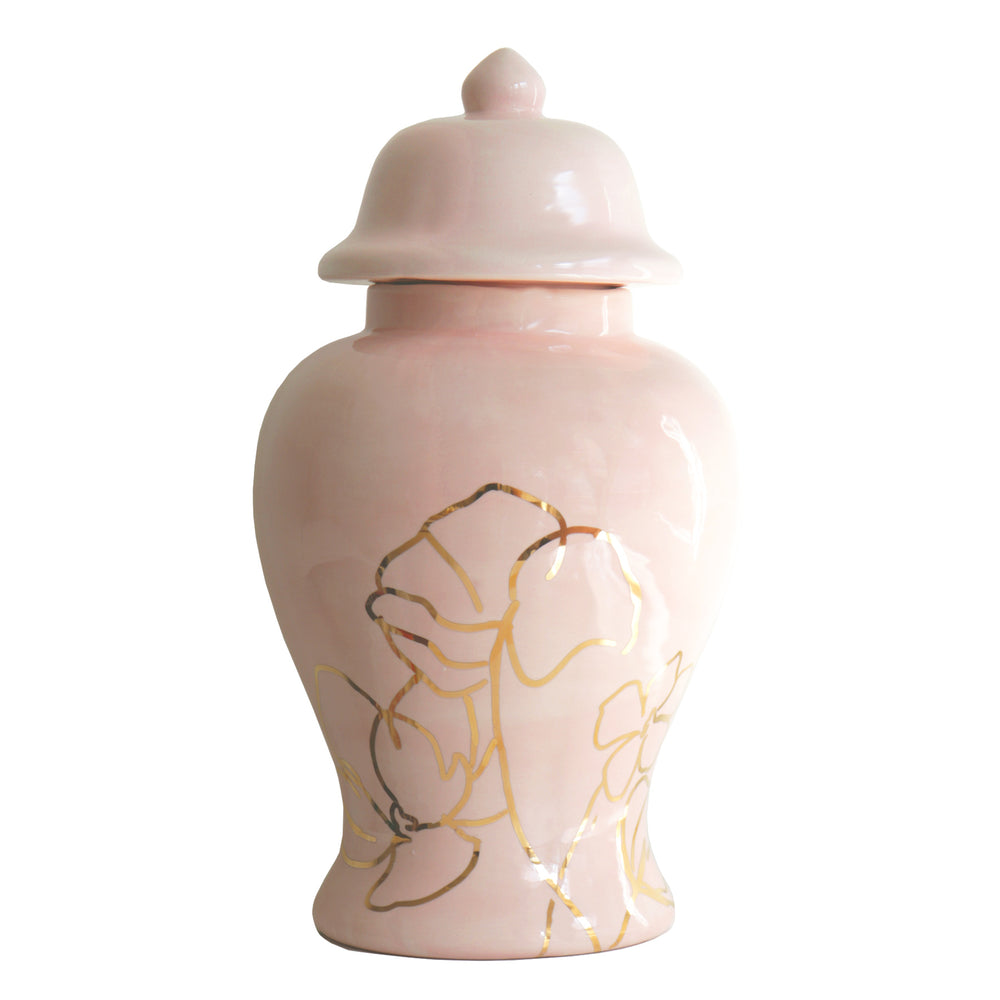 Blush Ginger Jar with Gold Floral Accent