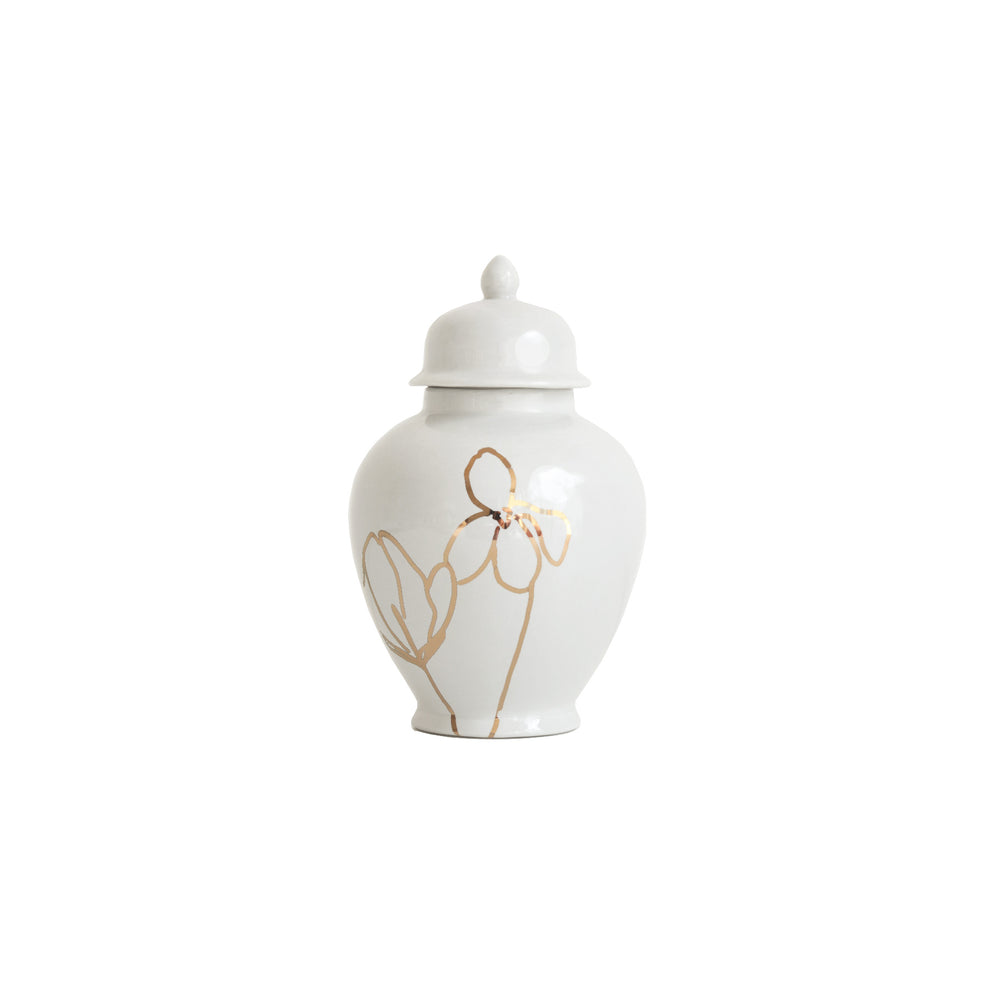 White Ginger Jar with Gold Floral Accent