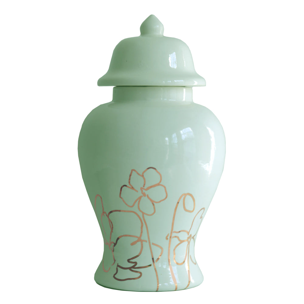 Sea Glass Ginger Jar with Gold Floral Accent