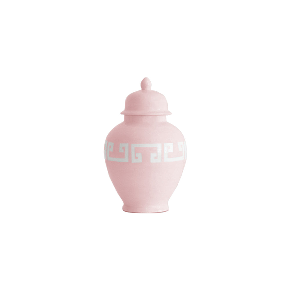 Cherry Blossom Pink Greek Key Ginger Jars