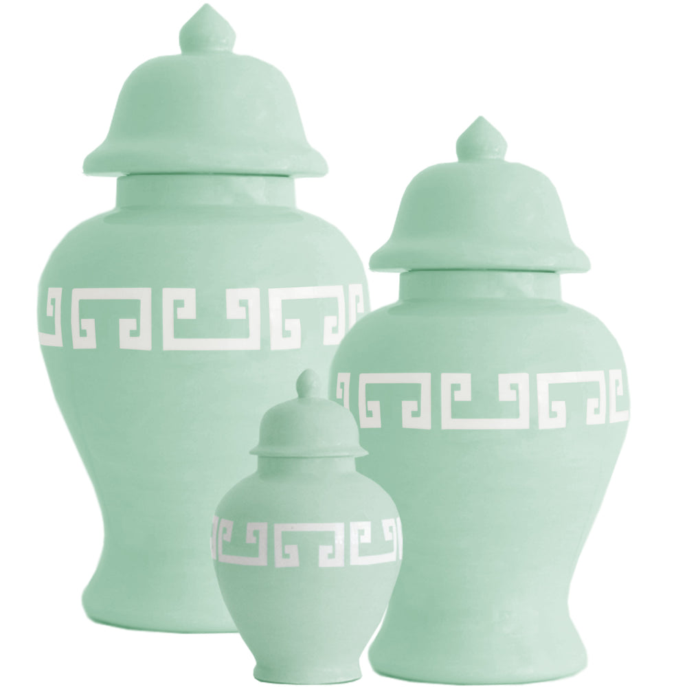 Sea Glass Greek Key Ginger Jars