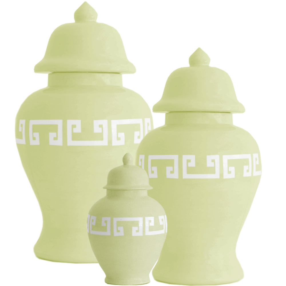 Celery Green Greek Key Ginger Jars