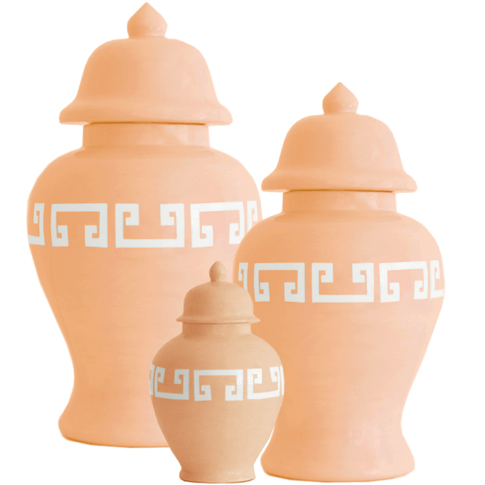 Coral Greek Key Ginger Jars