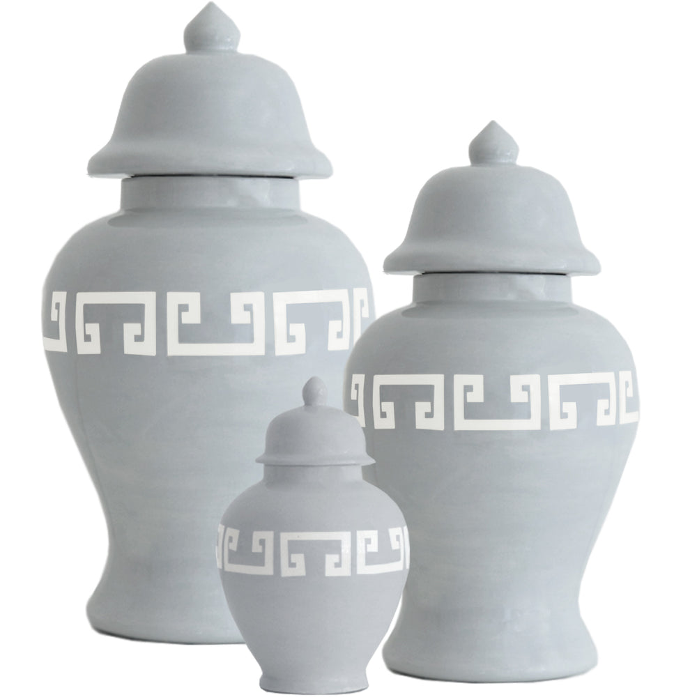 Light Gray Greek Key Ginger Jars