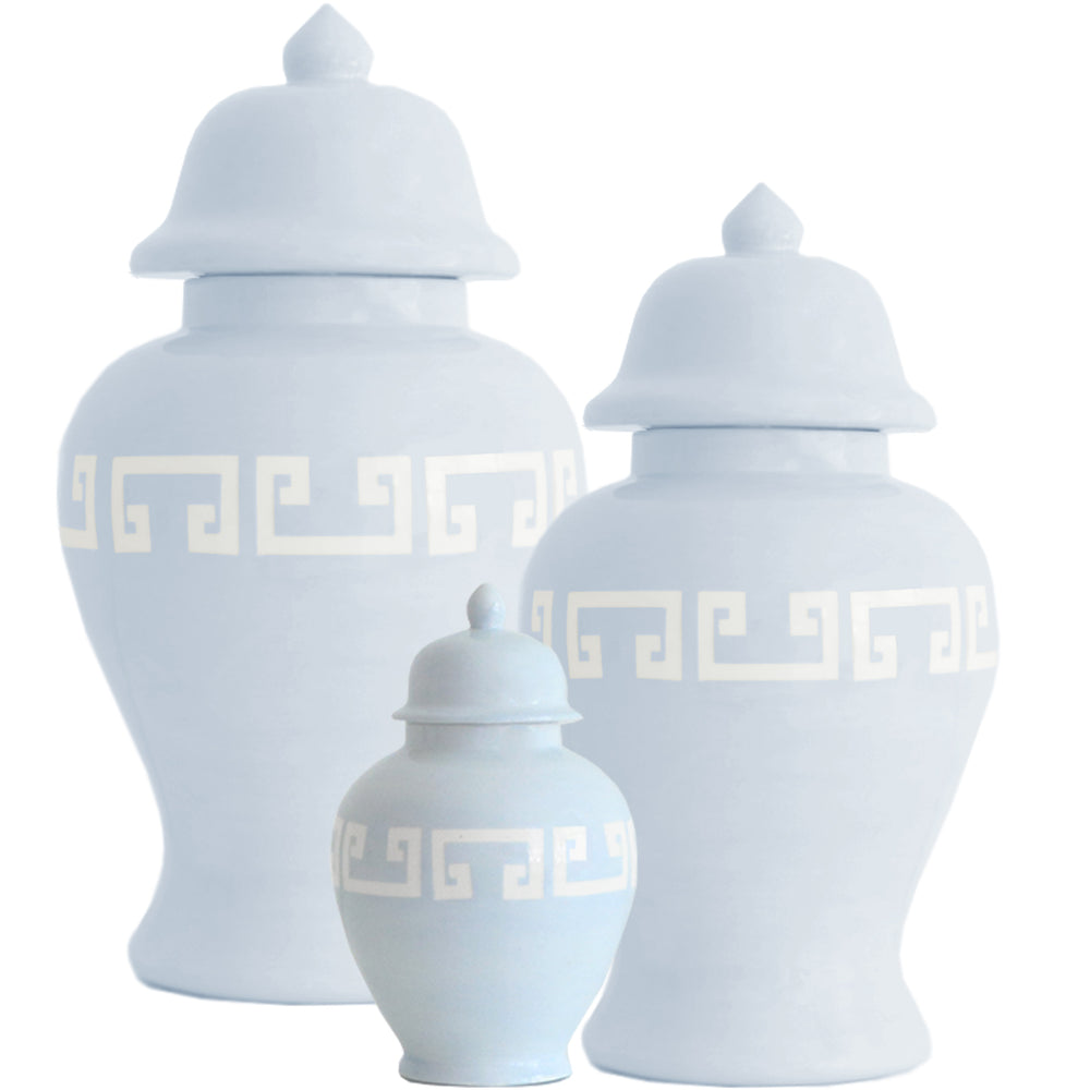 Hydrangea Blue Greek Key Ginger Jars