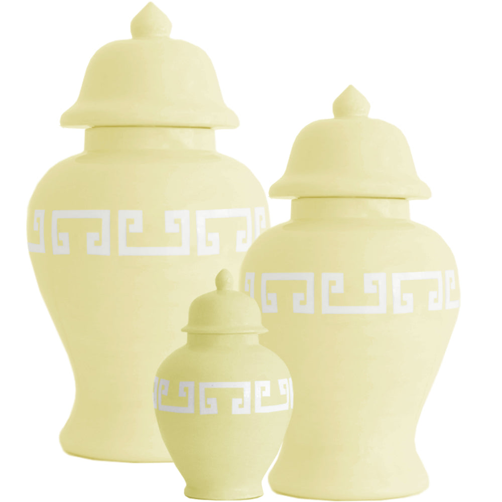 Lemon Sorbet Yellow Greek Key Ginger Jars