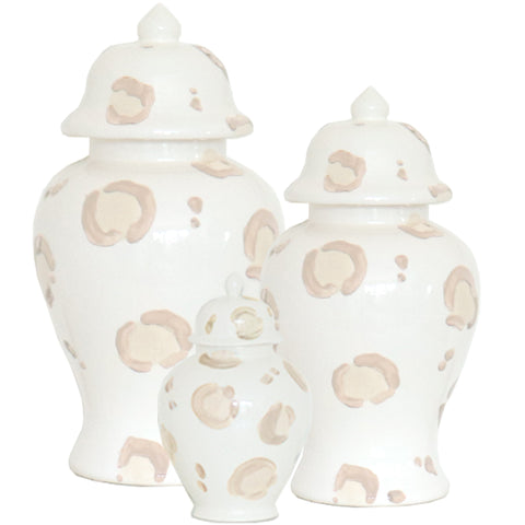 Summer Exclusive! Beige Leopard Print Ginger Jars