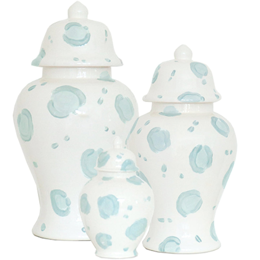 Blue Leopard Print Ginger Jars