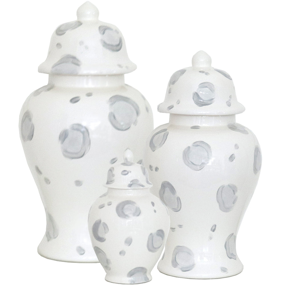 Light Gray Leopard Print Ginger Jars