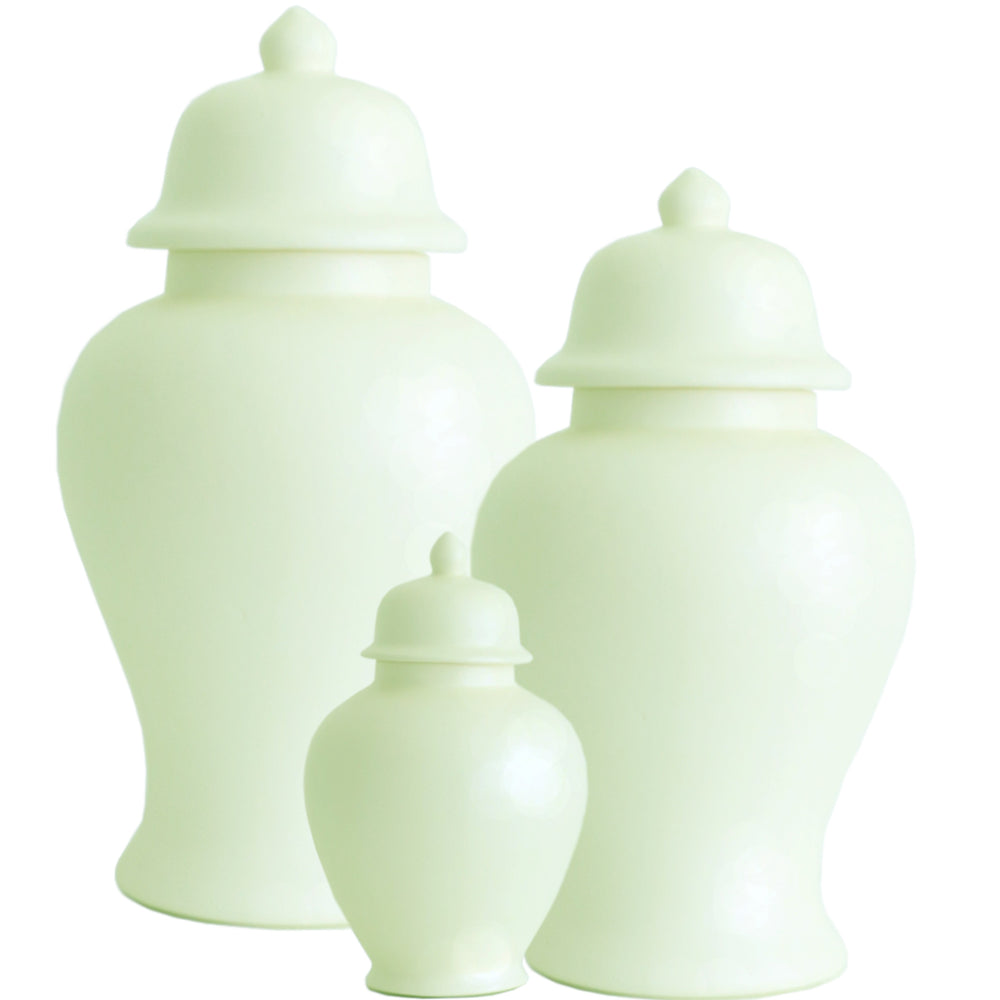 Matte Celadon Green Ginger Jars