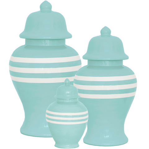 New! Aqua Striped Ginger Jars