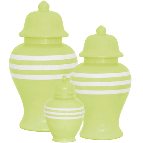 New! Light Green Chartreuse Striped Ginger Jars