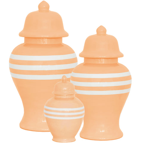 New! Coral Striped Ginger Jars