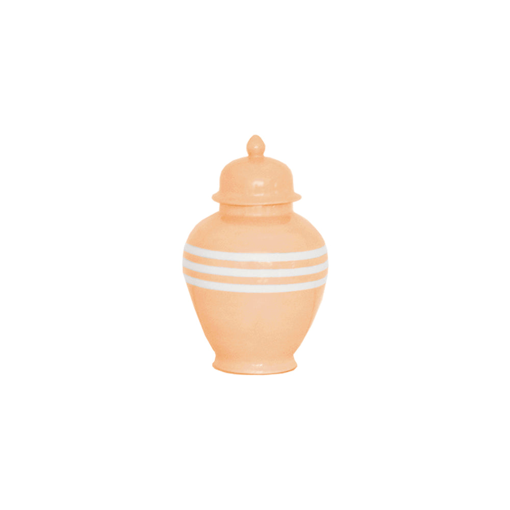 Coral Striped Ginger Jars