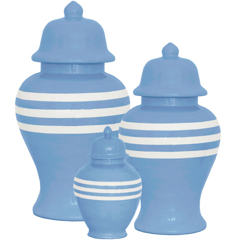 New! French Blue Striped Ginger Jars