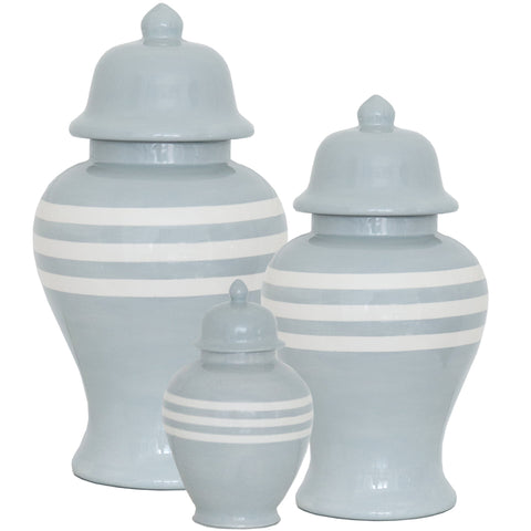 New! Light Gray Striped Ginger Jars