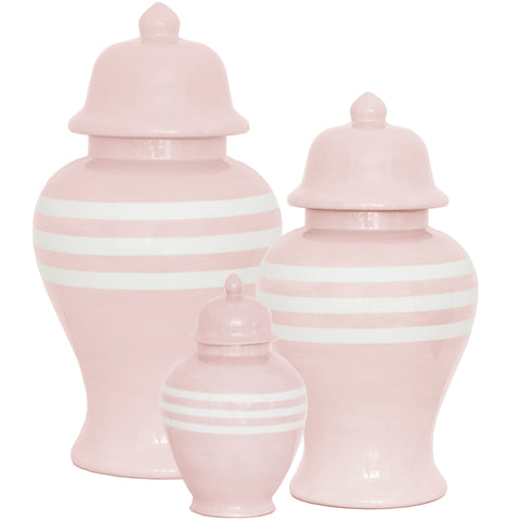 New! Cherry Blossom Pink Striped Ginger Jars
