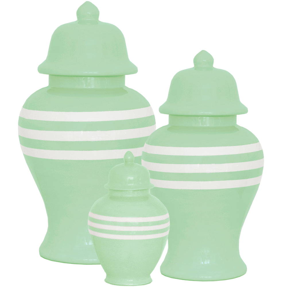 Sea Glass Striped Ginger Jars