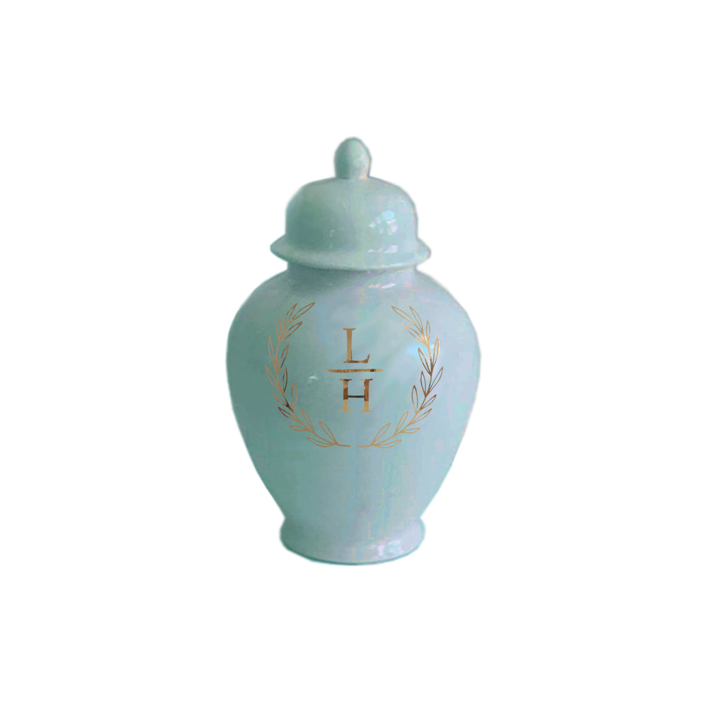 Laurel Wreath Monogram Ginger Jars in Aqua