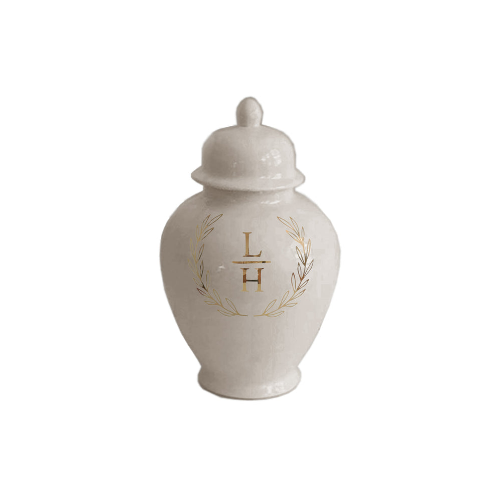 Laurel Wreath Monogram Ginger Jars in Beige