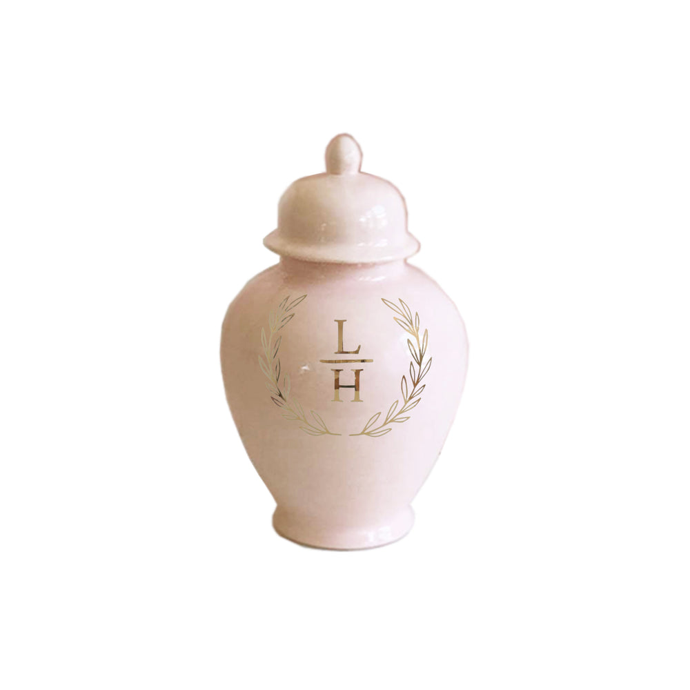 Laurel Wreath Monogram Ginger Jars in Blush