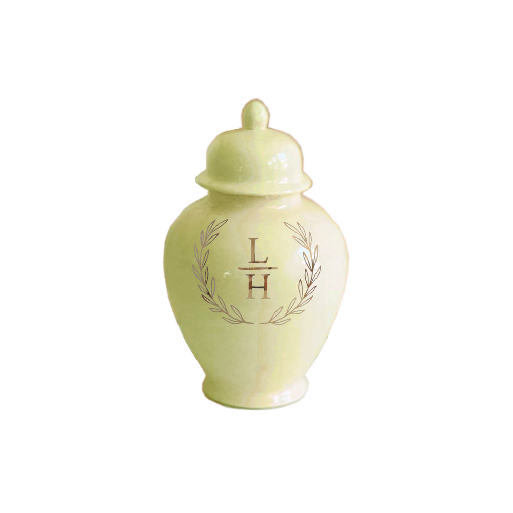Laurel Wreath Monogram Ginger Jars in Celery Green