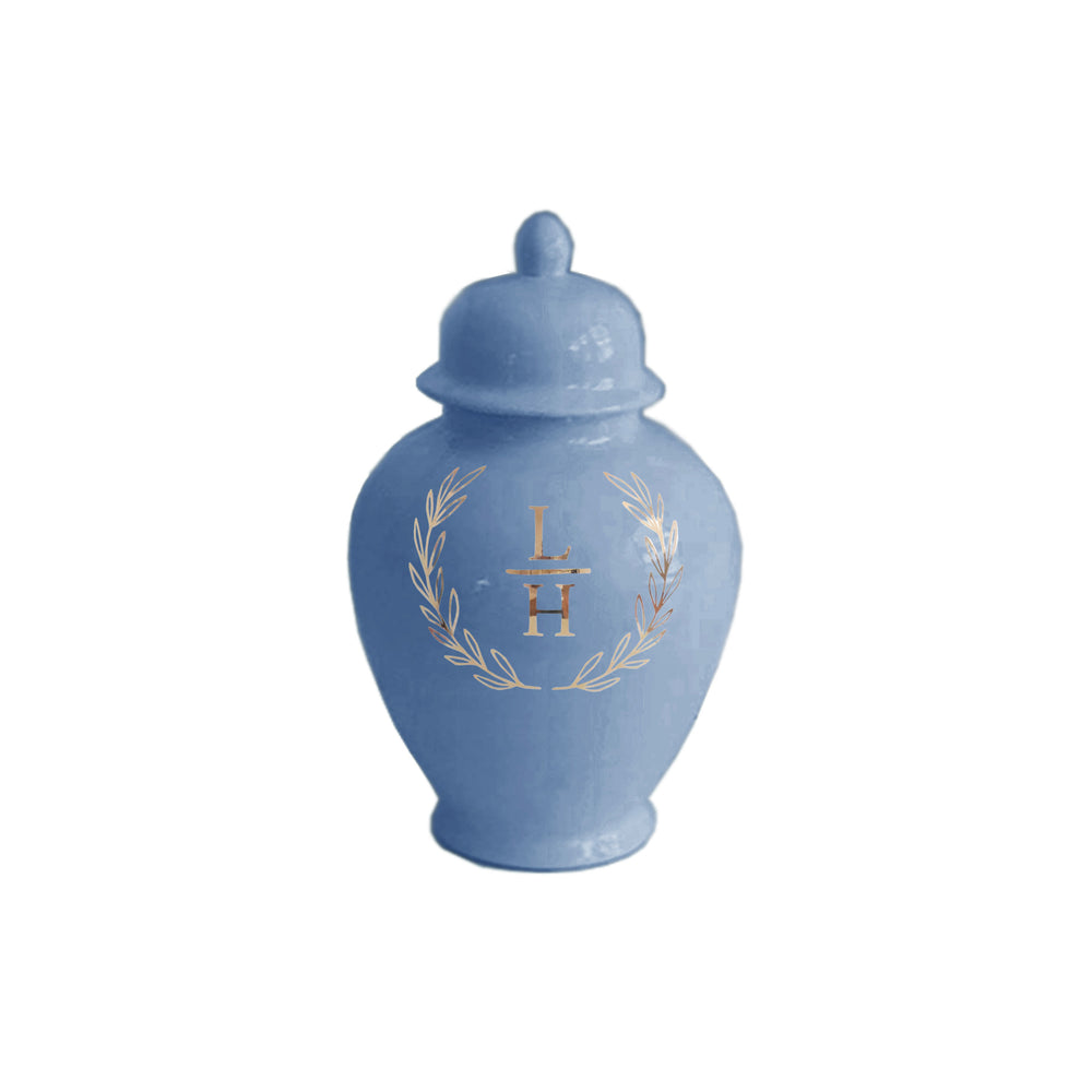 Laurel Wreath Monogram Ginger Jars in French Blue