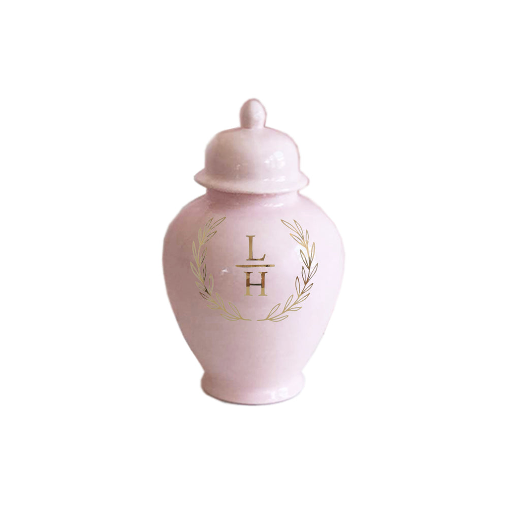 Laurel Wreath Monogram Ginger Jars in Cherry Blossom Pink