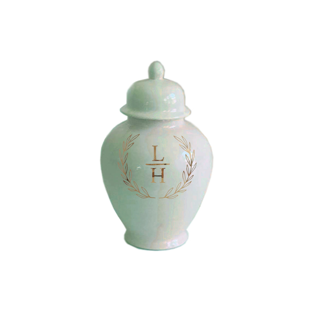 Laurel Wreath Monogram Ginger Jars in Sea Glass