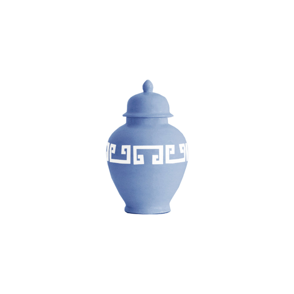 French Blue Greek Key Ginger Jars