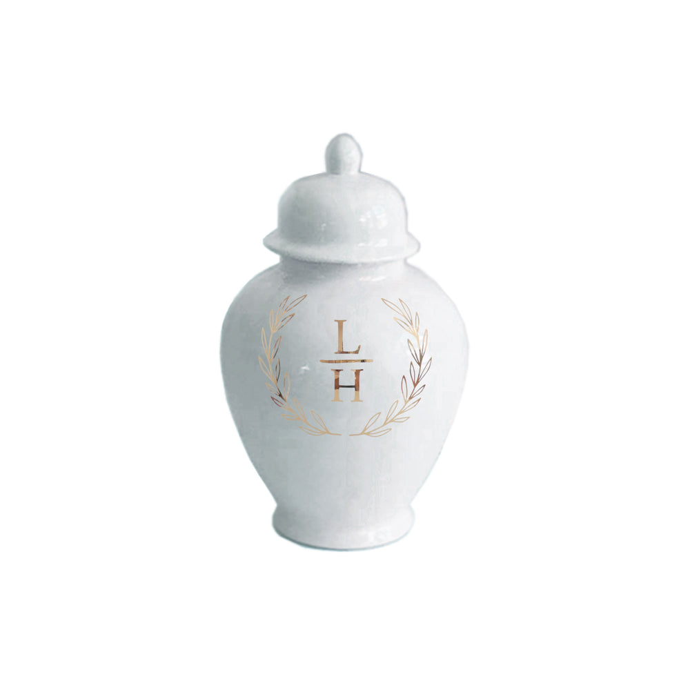 Laurel Wreath Monogram Ginger Jars in White